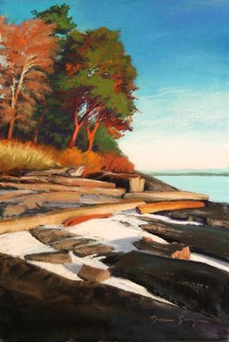 White Beach Dawn 12 x 18